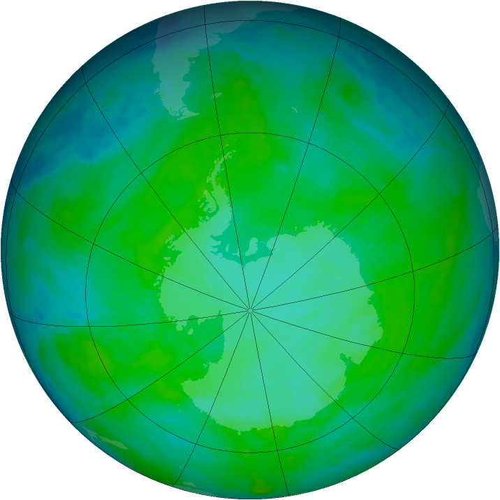 Antarctic ozone map for 24 December 1985