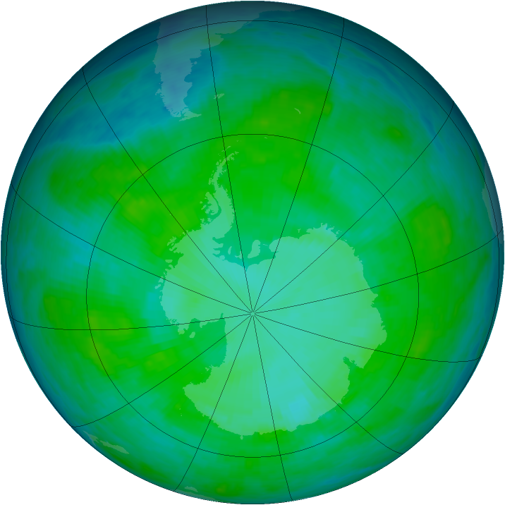 Antarctic ozone map for 25 December 1985