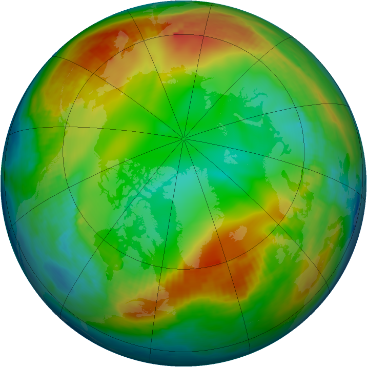 Arctic ozone map for 30 December 1985