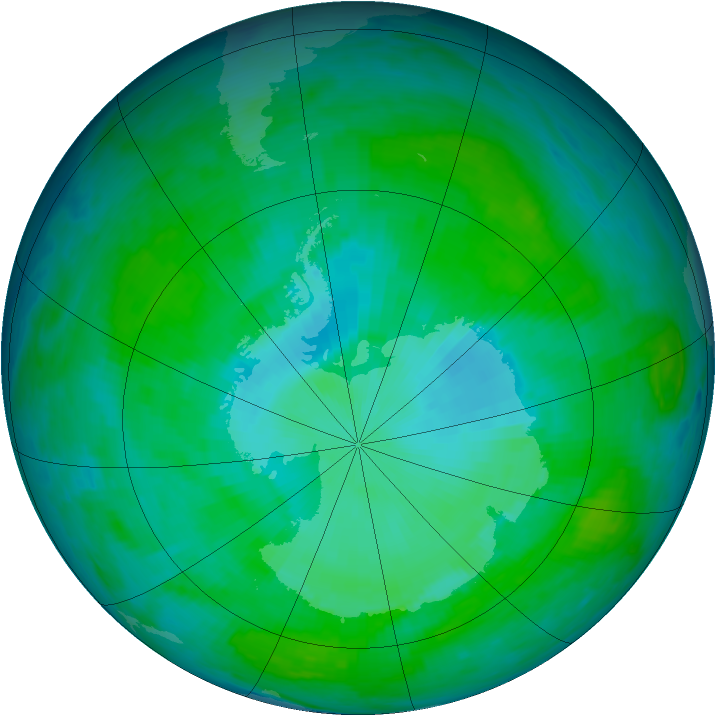Antarctic ozone map for 30 December 1985