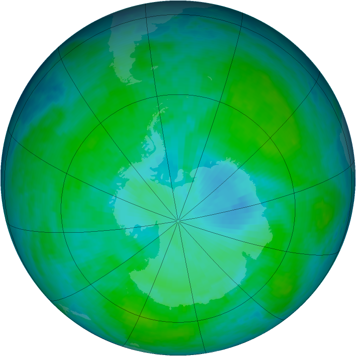 Antarctic ozone map for 31 December 1985