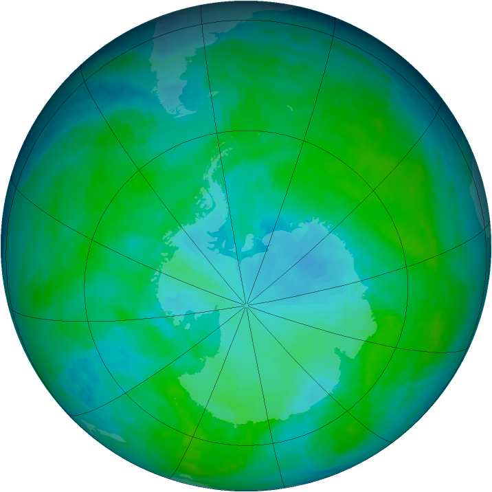 Antarctic ozone map for 01 January 1986