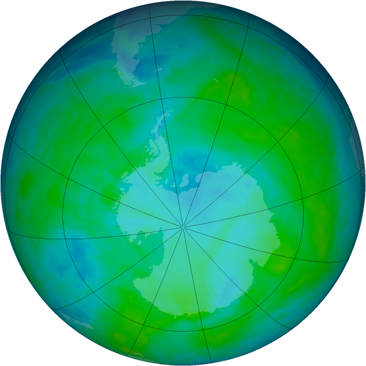 Antarctic ozone map for 02 January 1986