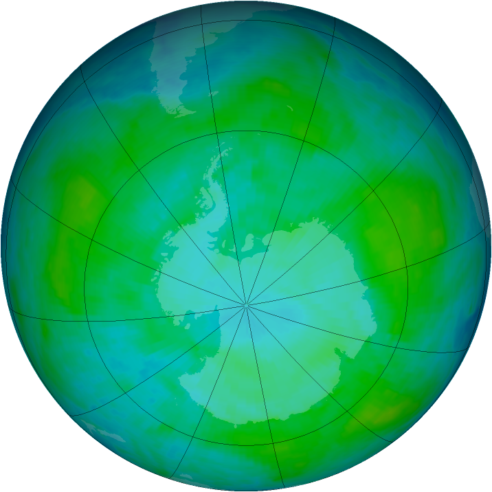 Antarctic ozone map for 06 January 1986