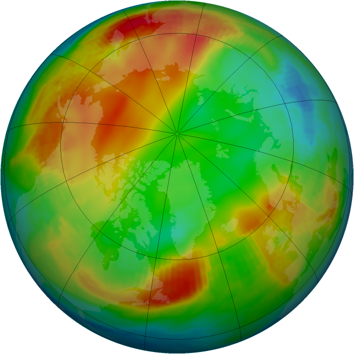 Arctic ozone map for 07 January 1986