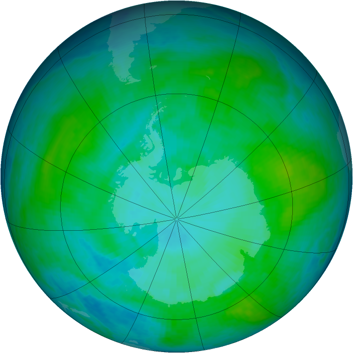 Antarctic ozone map for 07 January 1986