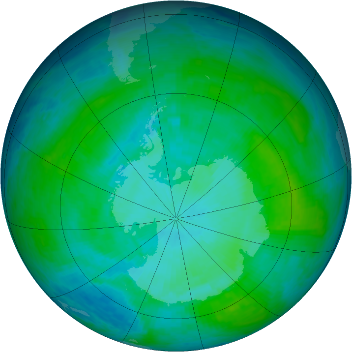 Antarctic ozone map for 08 January 1986