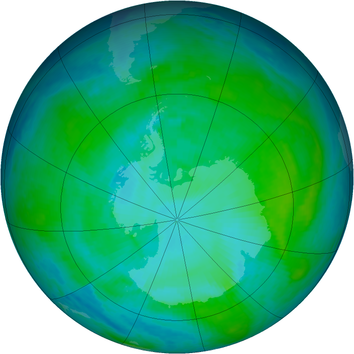 Antarctic ozone map for 09 January 1986