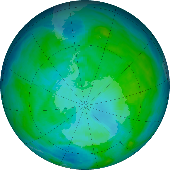 Antarctic ozone map for 10 January 1986