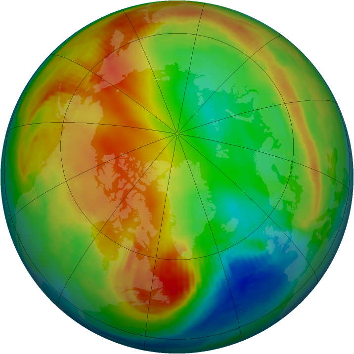 Arctic ozone map for 16 January 1986