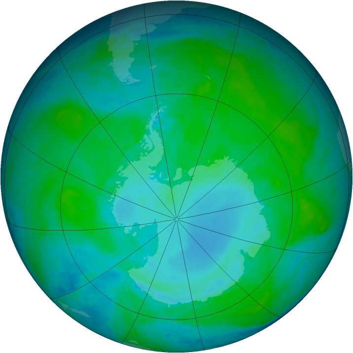Antarctic ozone map for 16 January 1986