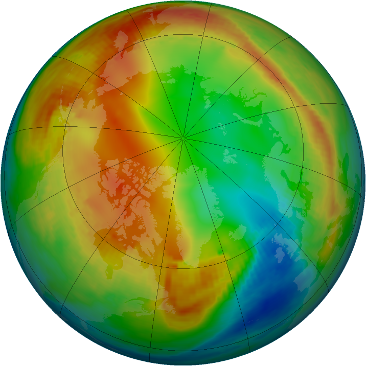 Arctic ozone map for 17 January 1986