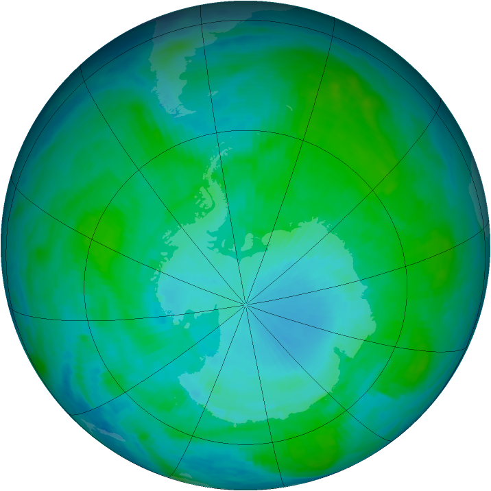 Antarctic ozone map for 17 January 1986