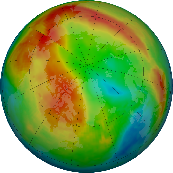 Arctic ozone map for 18 January 1986