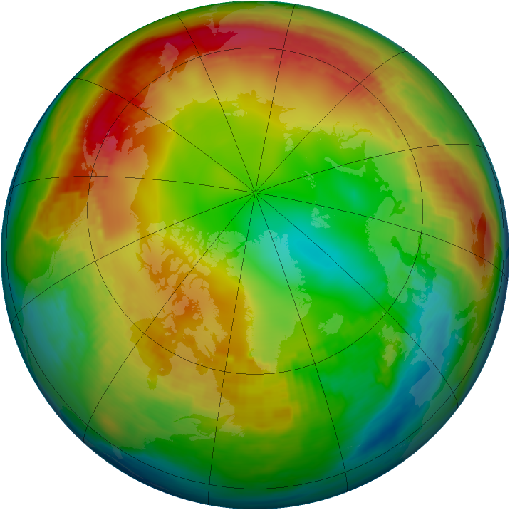 Arctic ozone map for 19 January 1986