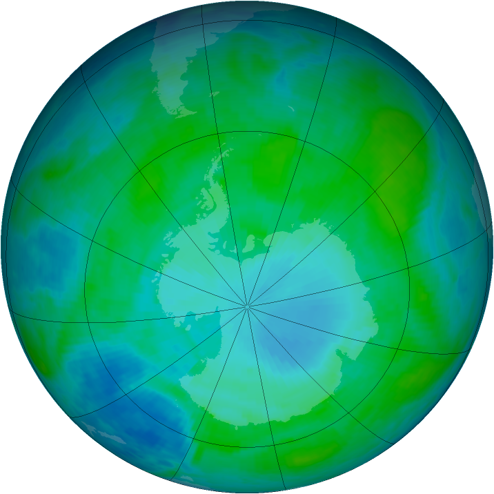 Antarctic ozone map for 19 January 1986