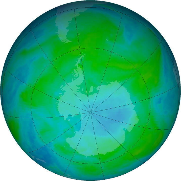 Antarctic ozone map for 20 January 1986