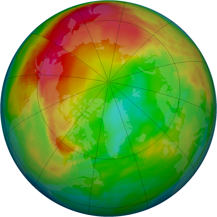 Arctic ozone map for 22 January 1986