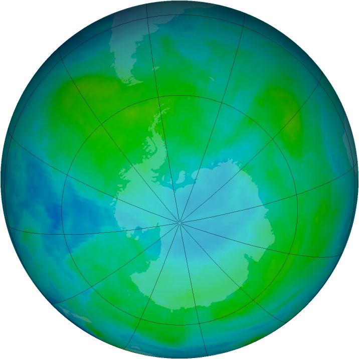 Antarctic ozone map for 24 January 1986