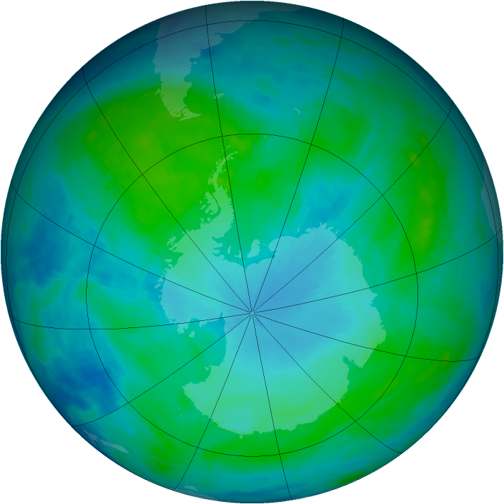 Antarctic ozone map for 25 January 1986