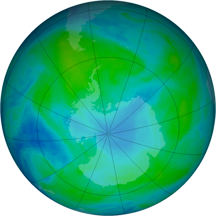 Antarctic ozone map for 26 January 1986