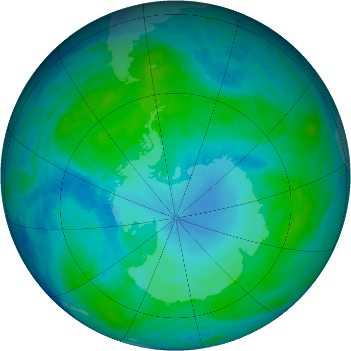 Antarctic ozone map for 27 January 1986