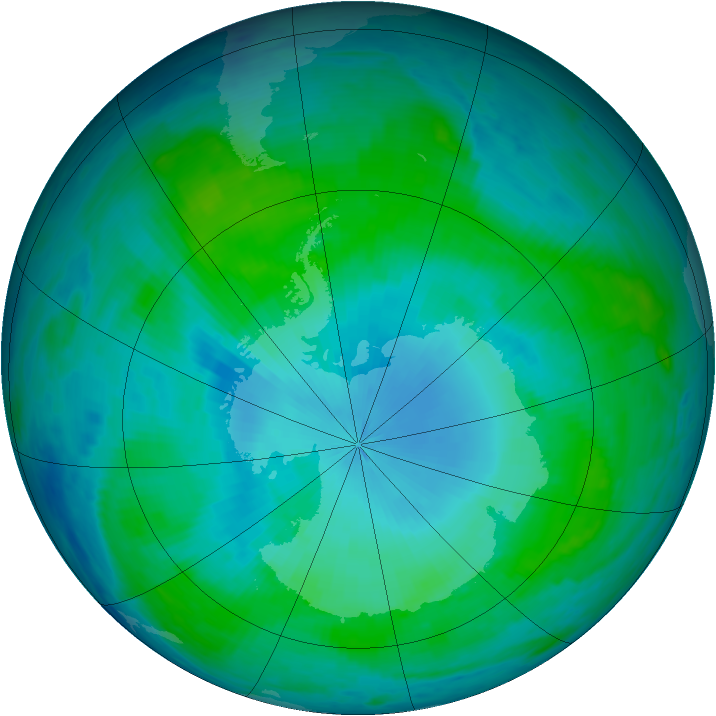 Antarctic ozone map for 28 January 1986