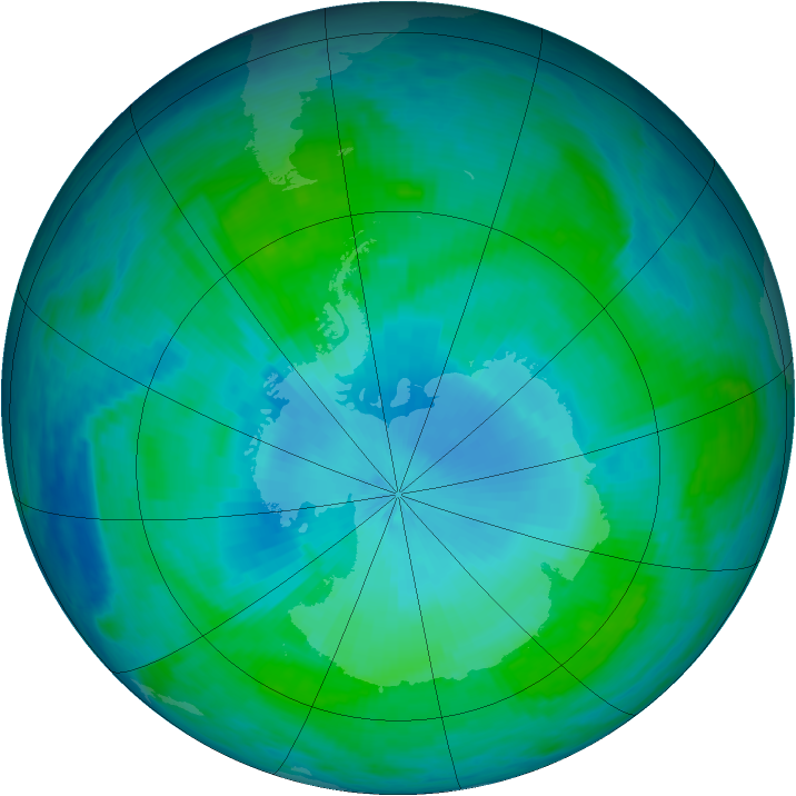 Antarctic ozone map for 29 January 1986