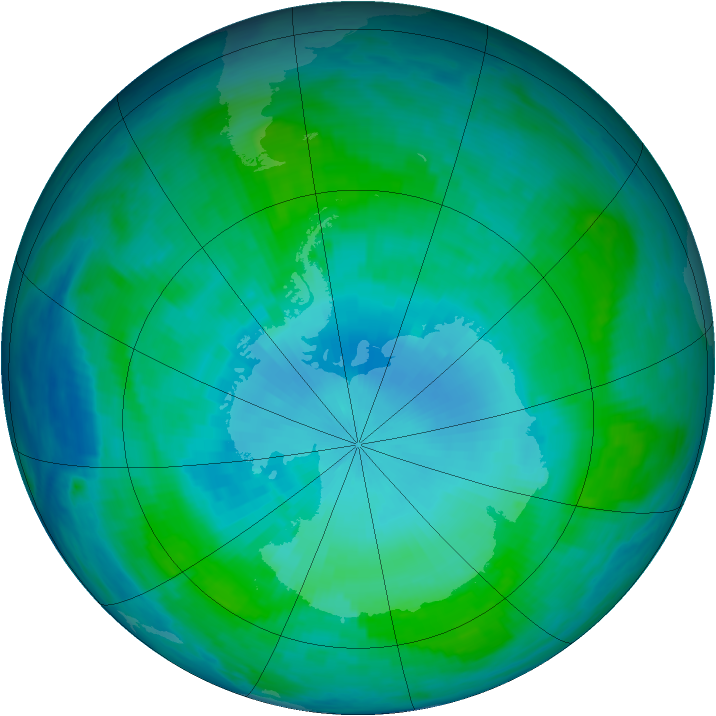 Antarctic ozone map for 30 January 1986