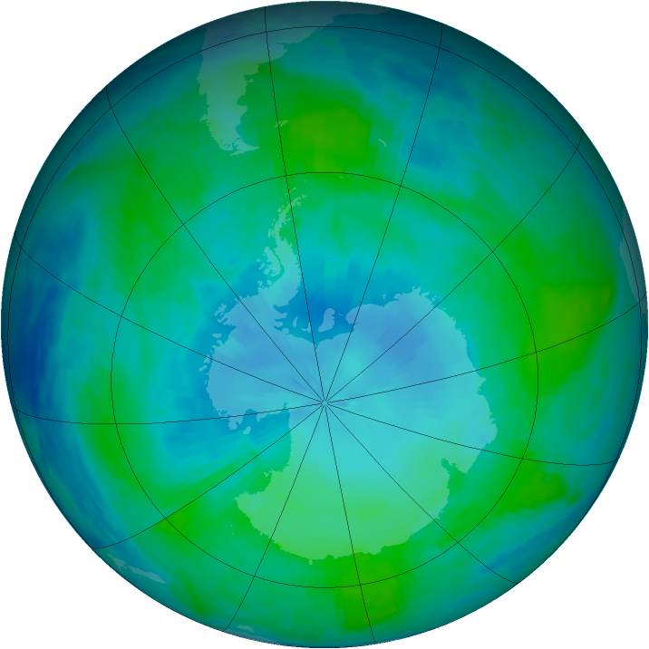 Antarctic ozone map for 31 January 1986