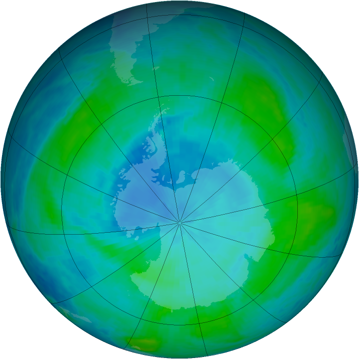 Antarctic ozone map for 02 February 1986