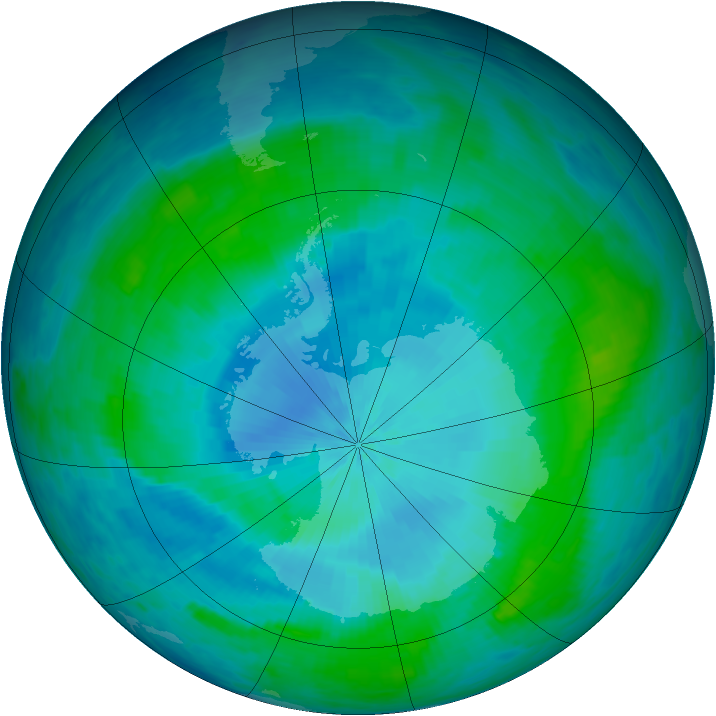 Antarctic ozone map for 04 February 1986