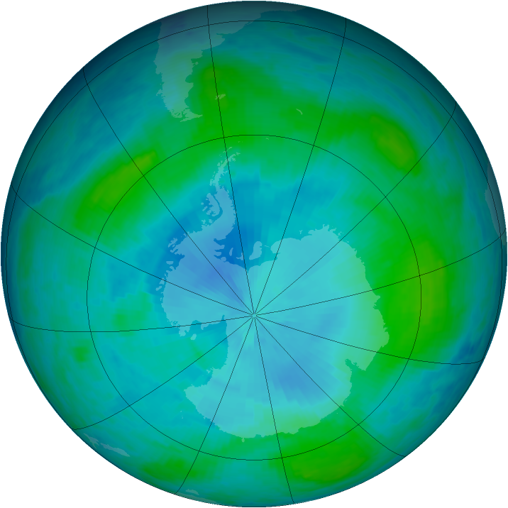 Antarctic ozone map for 06 February 1986