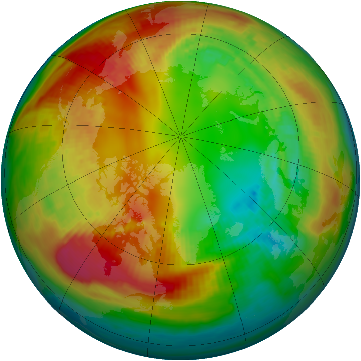 Arctic ozone map for 09 February 1986