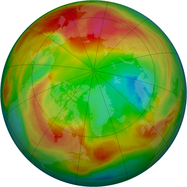 Arctic ozone map for 14 February 1986