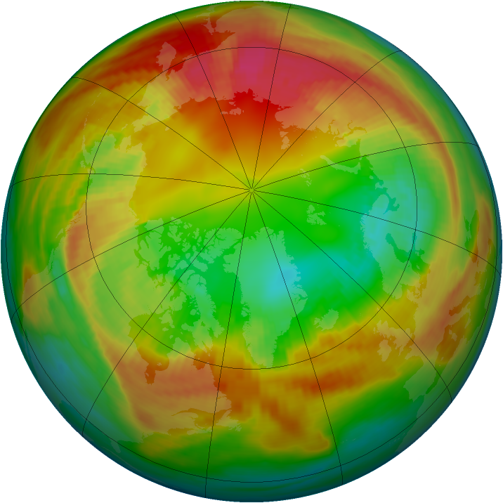 Arctic ozone map for 15 February 1986