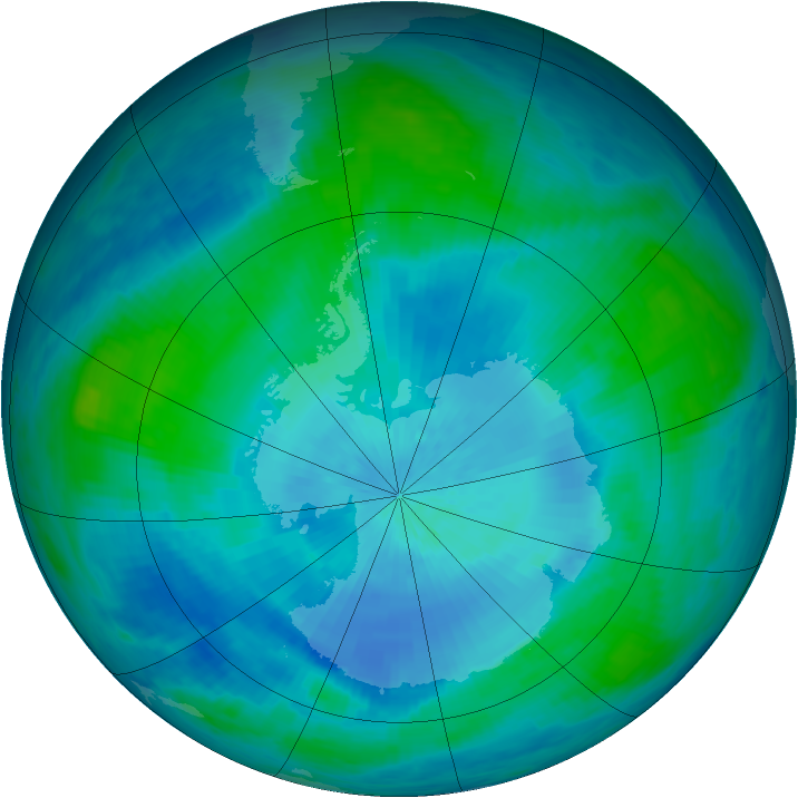 Antarctic ozone map for 20 February 1986