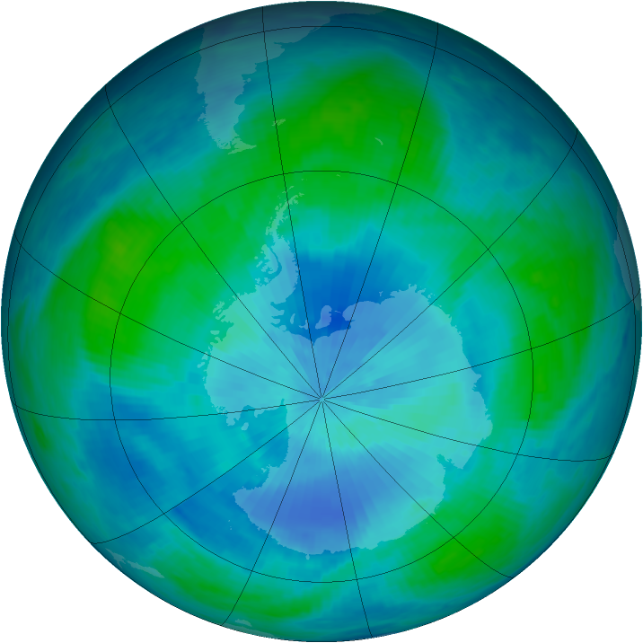 Antarctic ozone map for 21 February 1986