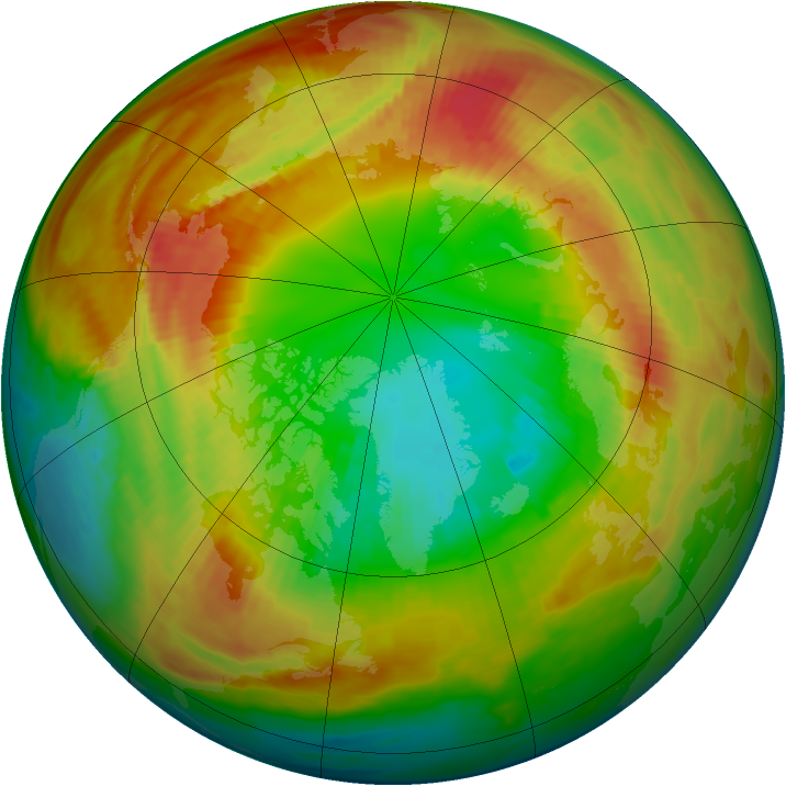 Arctic ozone map for 24 February 1986