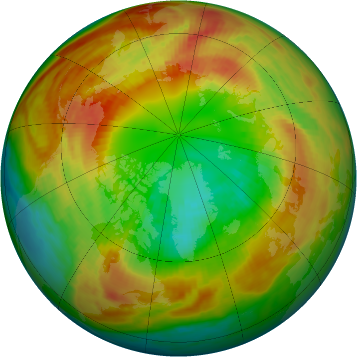 Arctic ozone map for 25 February 1986