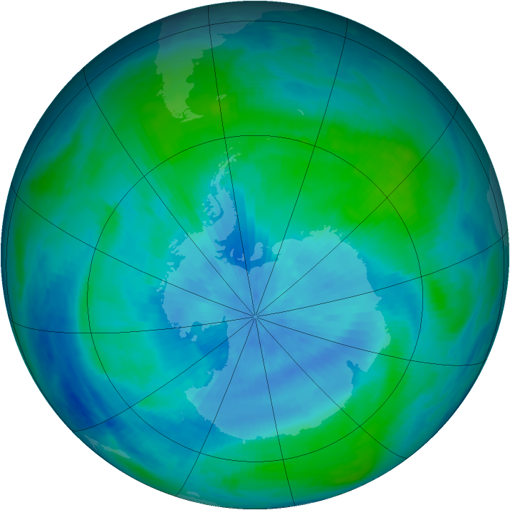 Antarctic ozone map for 26 February 1986