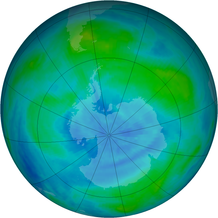 Antarctic ozone map for 27 February 1986