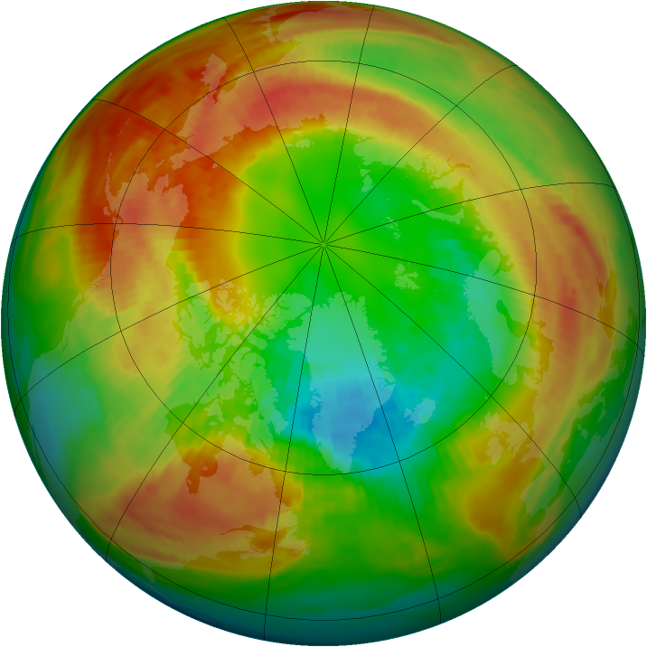 Arctic ozone map for 28 February 1986