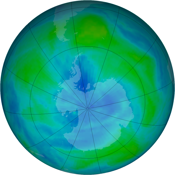 Antarctic ozone map for 01 March 1986