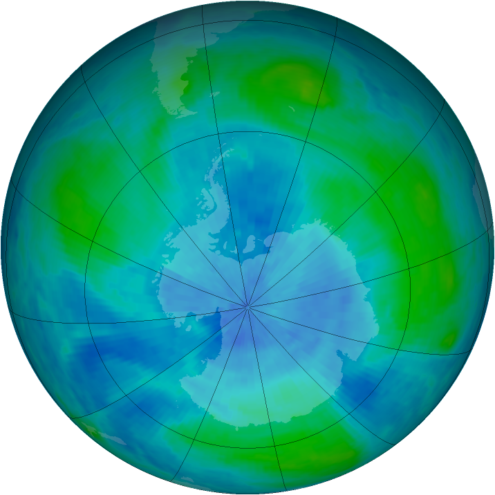 Antarctic ozone map for 04 March 1986