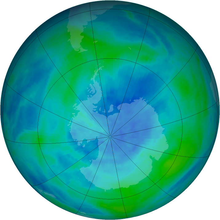 Antarctic ozone map for 13 March 1986