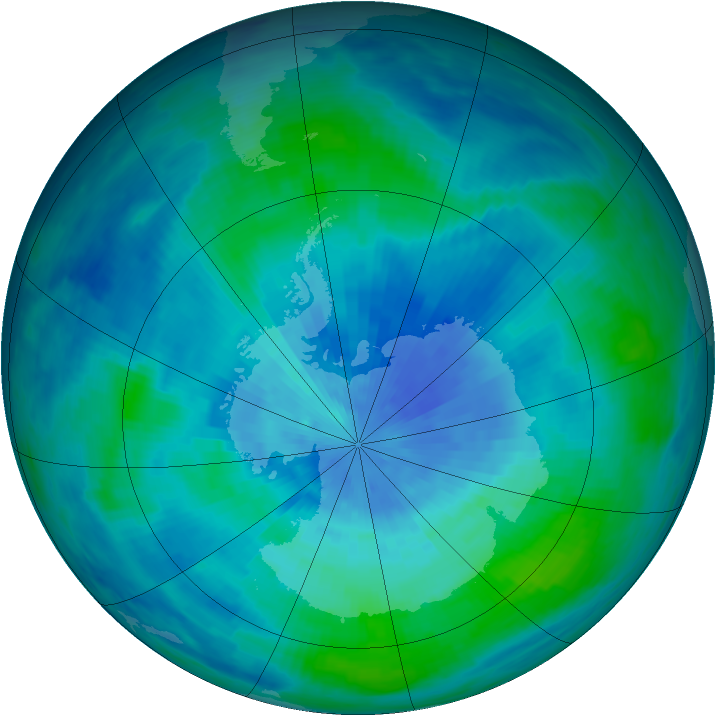 Antarctic ozone map for 14 March 1986