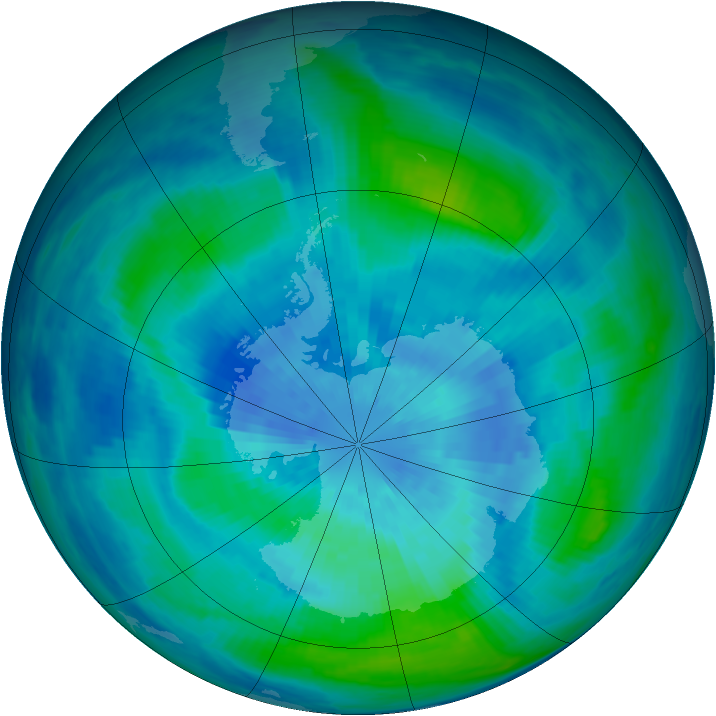 Antarctic ozone map for 18 March 1986