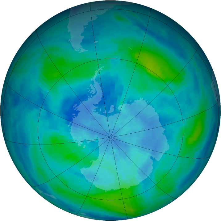 Antarctic ozone map for 19 March 1986