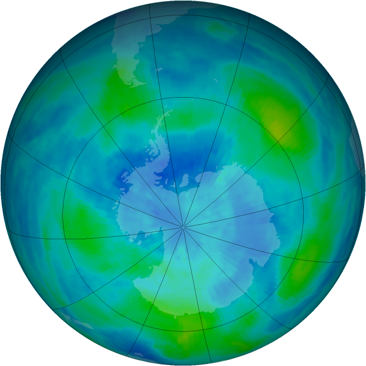 Antarctic ozone map for 20 March 1986